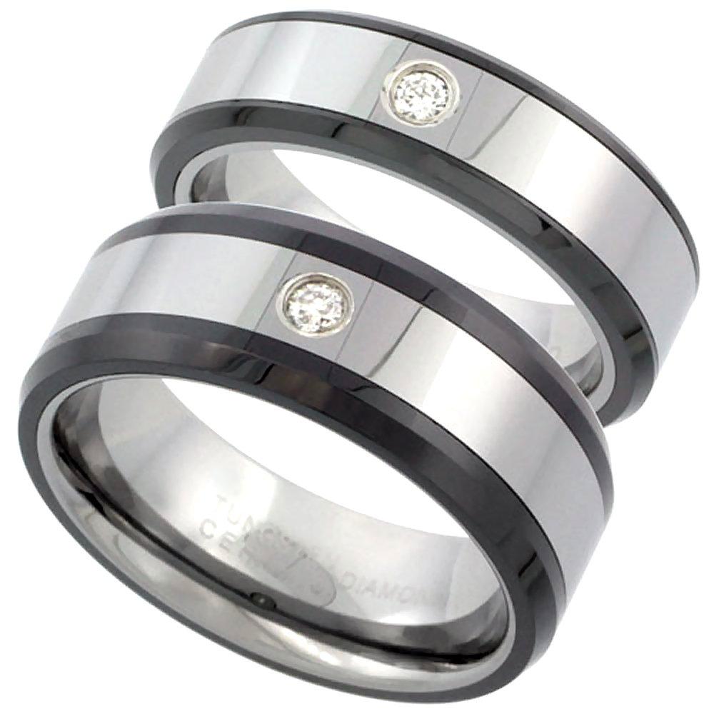 2-Ring Set 6 & 8mm Tungsten Diamond Wedding Ring Him & Her Beveled Black Ceramic Edges Comfort fit, size 9.5