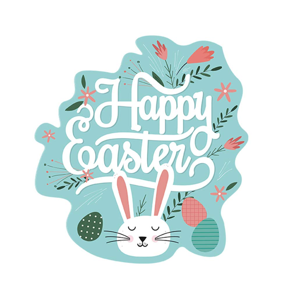 Cyhulu Creative Window Wall Decal, 2019 New Cartoon Happy Easter Rabbit Egg 3D Mural Vinyl Stickers for Baby's Bedroom Living Room Home Office Wall DIY Art Decoration (C, One size)
