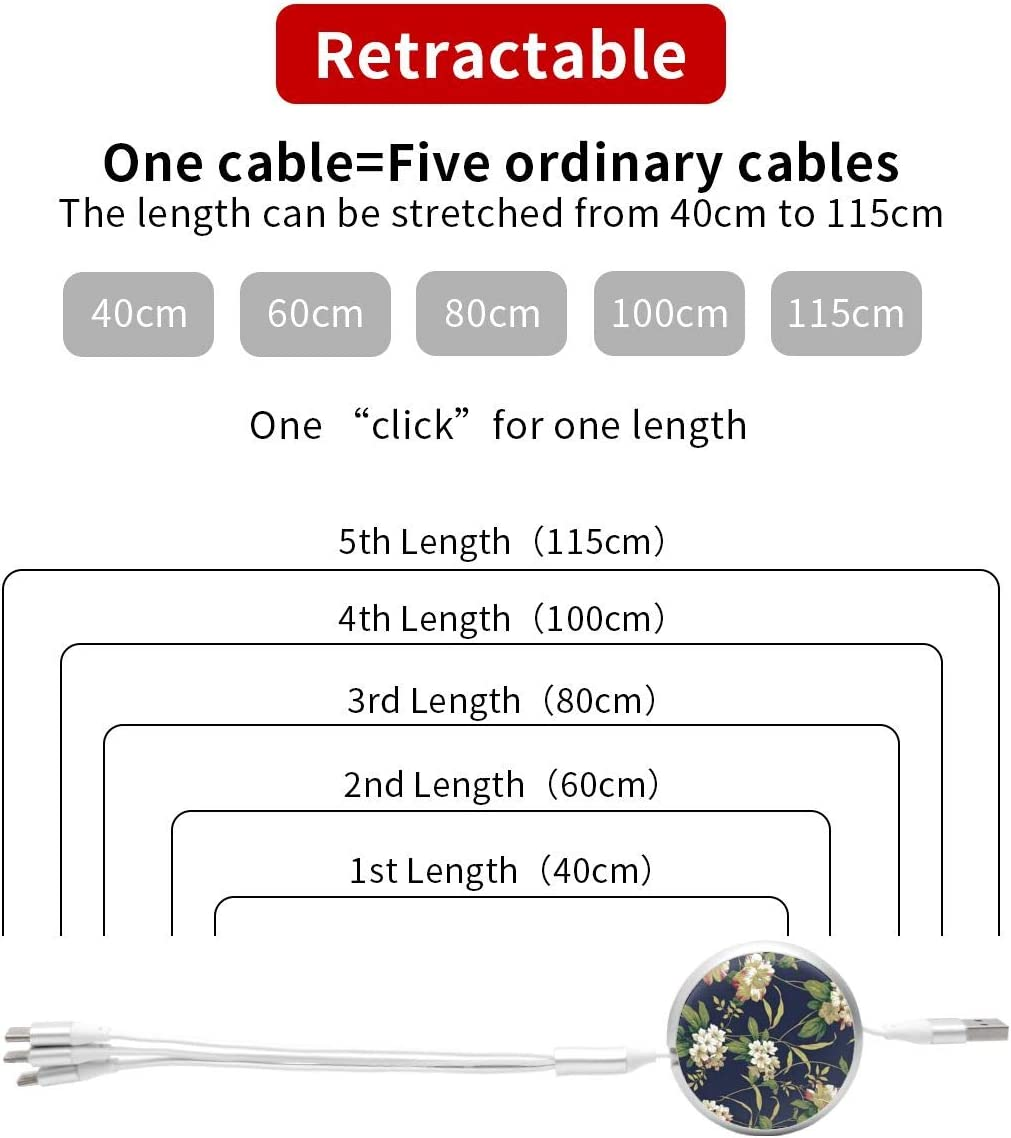 Rhododendron 3 in 1 Multiple USB Stretch Charger Cord with Micro,Type C,iOS Connectors with Cell Phone Tablets More