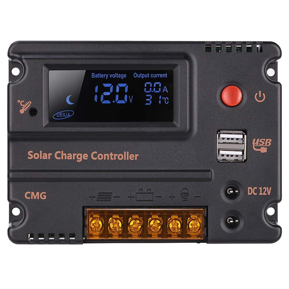 GHB 20 Amp 12Volts 24Volt Solar Charge Regulator with Auto Switch LCD Intelligent Panel Battery Regulator Overload Charge Controller, Temperature Protection Compensation