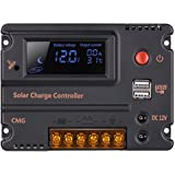 GHB 20A 12V 24V Solar Charge Controller Auto Switch LCD Intelligent Panel Battery Regulator Charge Controller Overload Protec