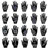 Henna Tattoo Stencil Kit/Temporary Tattoo Temples Set of 20 Sheets, Indian Arabian Tattoo Stickers Mehndi Stencils Body Art Designs for Hands