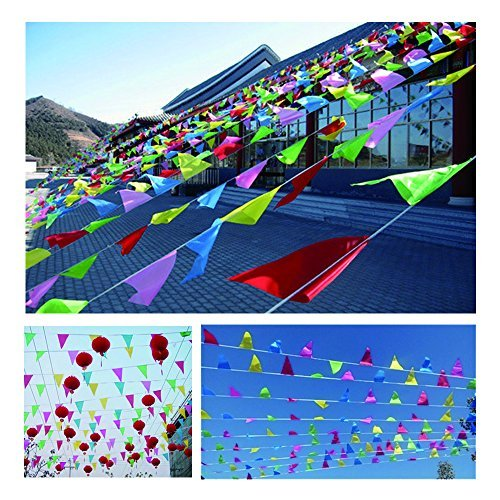 Spar.saa 250 Ft Multicolor Pennant Banners String Flag Banner, 200Pcs Nylon Fabric Pennant Flags for Grand Opening,Party Festivals Decorations (Banner Opening Outdoor)