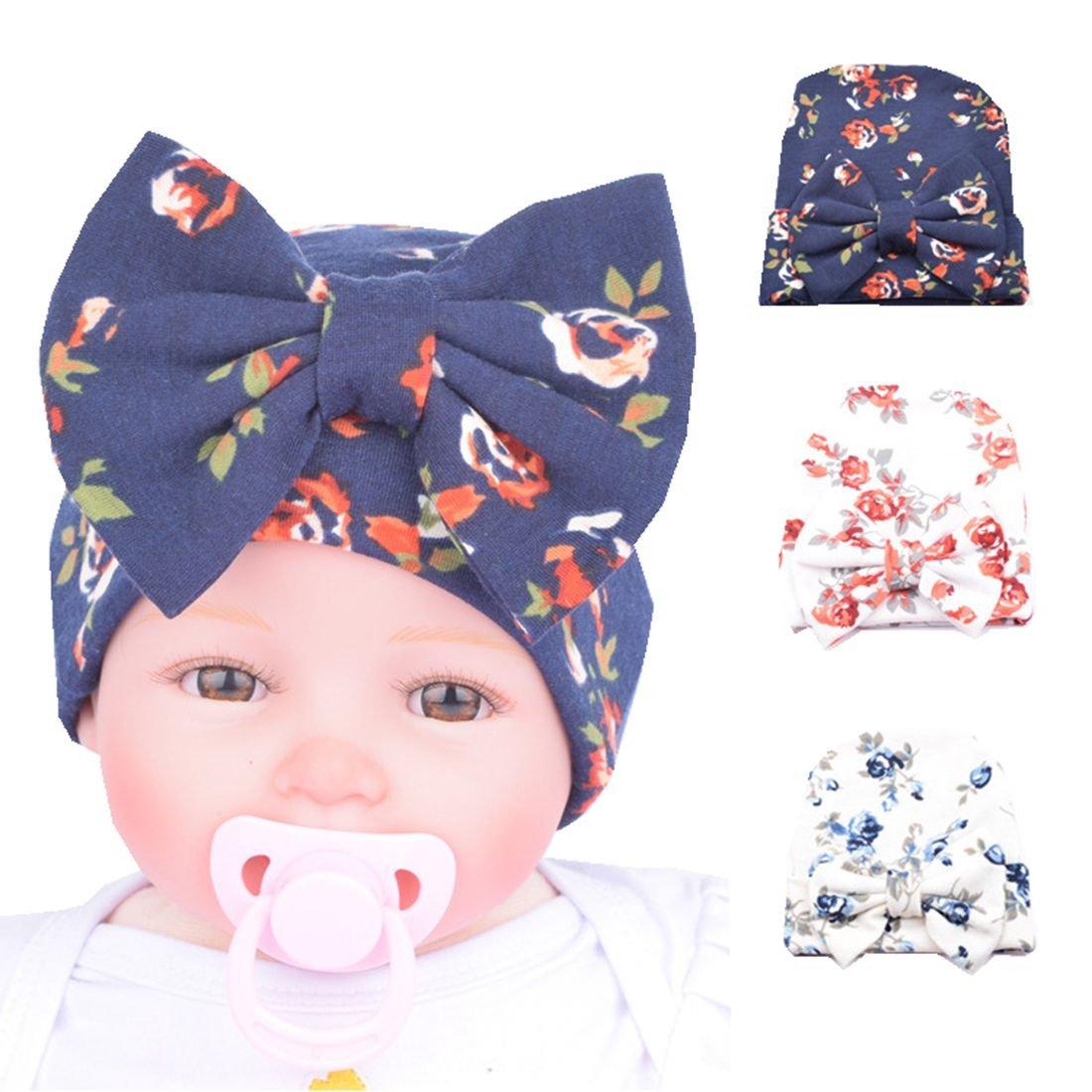 Blue Newborn Hospital Hat Cap with Big Bow Comfort For Infant Baby Girls 3 Pcs Yzjcafriz