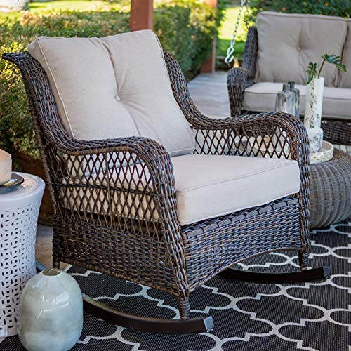 Classic Traditional Brown Resin Wicker Patio Comfort Back Rocking Chair Outdoor Porch Rocker Furniture with Cushions