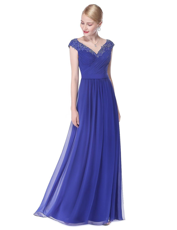 Ever Pretty Damen Elegant V-Ausschnitt Lace Gebluemt Lang Party ...
