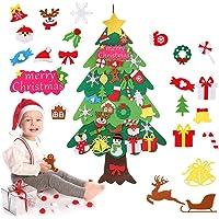 Zueyen Árbol de Navidad de Fieltro, árbol de Navidad de Fieltro para niños pequeños con 34 Piezas de Adornos…