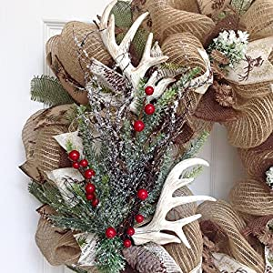 Deer Antlers Winter Holiday Wreath With Iced Greenery Handmade Deco Mesh 2