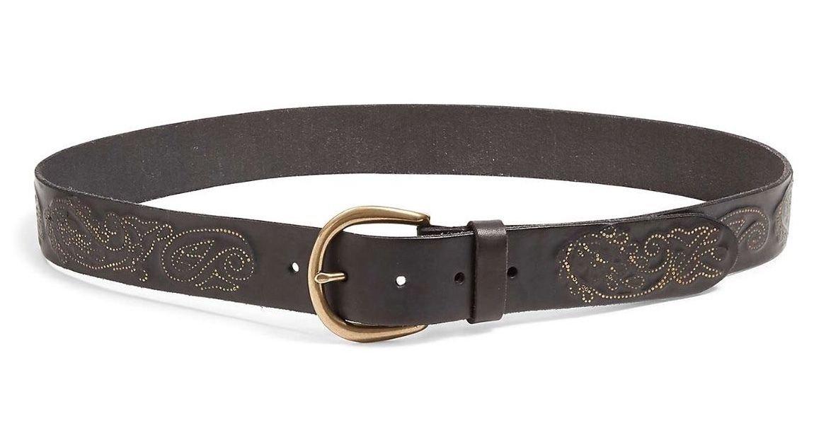 Lucky Brand - Women's - NWT - Metallic Paisley Embossed Black Leather Belt (Small)