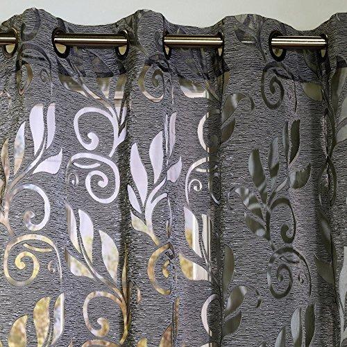 Common Wealth Home Fashions Amelia Floral Burnout Curtain Panel, 50 x 84