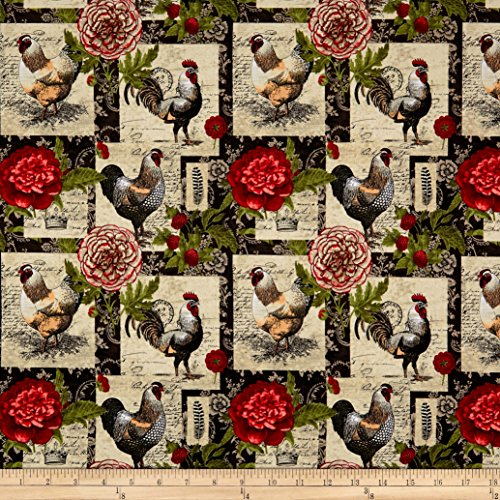 (Springs Creative Products 0587585 Springs Creative French Rooster Floral Patch Multi Fabric by The Yard, Multicolor)