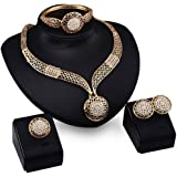 Genuiskids Fashion Women Jewellery Sets Bride Wedding Party Gold Plated Chain Necklace Earring Set