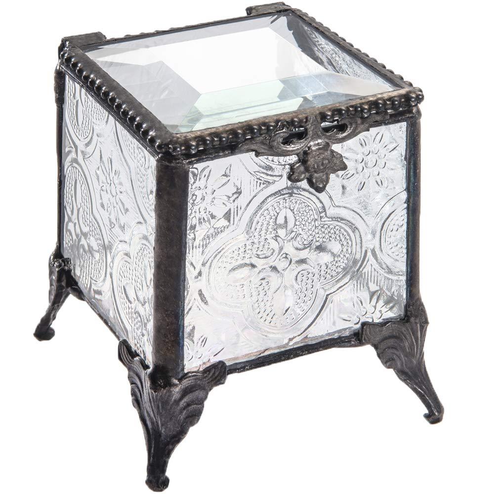 J Devlin Box 153 Series Stained Glass Trinket Keepsake Jewelry Display Crystal Ring Box (Vintage)
