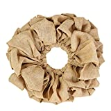 VHC Brands Christmas Holiday Decor - Burlap Tan Round Wreath, Natural, 15'' Diameter
