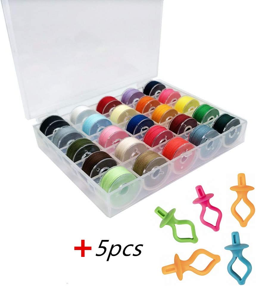 YEQIN 25Pcs Bobbins and Sewing Threads with Bobbin Case and Bobbin Holder for Sewing Machine BabyLock Singer Janome Etc Pre-Wound Bobbins Set Standard Size and White Threads for Brother