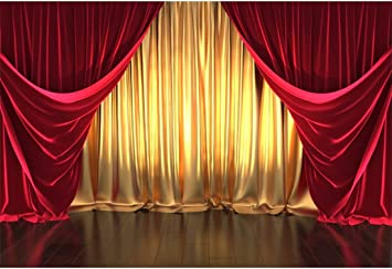 Zhy Red Stage Background 5x7ft Vinyl Photography Backdrop Lighting Events Festival Celebration Portrait Wedding Photo Backdrop Studio Booth Props GEEV197