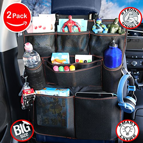 B-comfort Car Back Seat Organizers 2 Pack-Excellent Travel Accessory for Kids-Multi Pockets Safe and Sturdy Toddlers Toy Storage Bag-Kick Mat-Auto Backseat Protector-Eco Friendly Materials