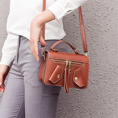 Color Bag Retro Bag Decorative Zipper PU Brown Shoulder Green Messenger Magnetic Square Simple Sunbobo vqwUPP