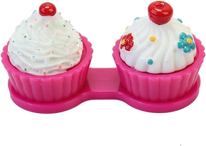 Pinzhi Lindo Caja Lentes de Contacto Porta Lentillas Estuche Forma de Moda Crema Tarta (rojo rosa): Amazon.es: Juguetes y juegos