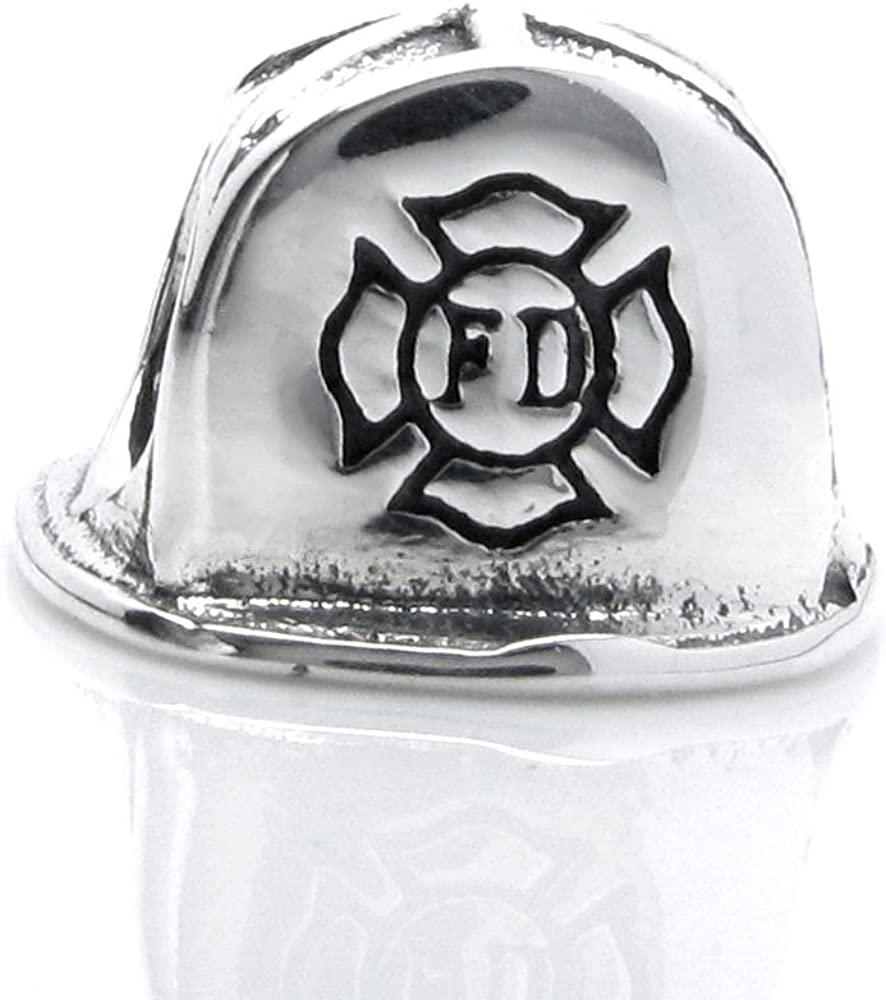 Queenberry Sterling Silver Firefighter Helmet European Style Bead Charm