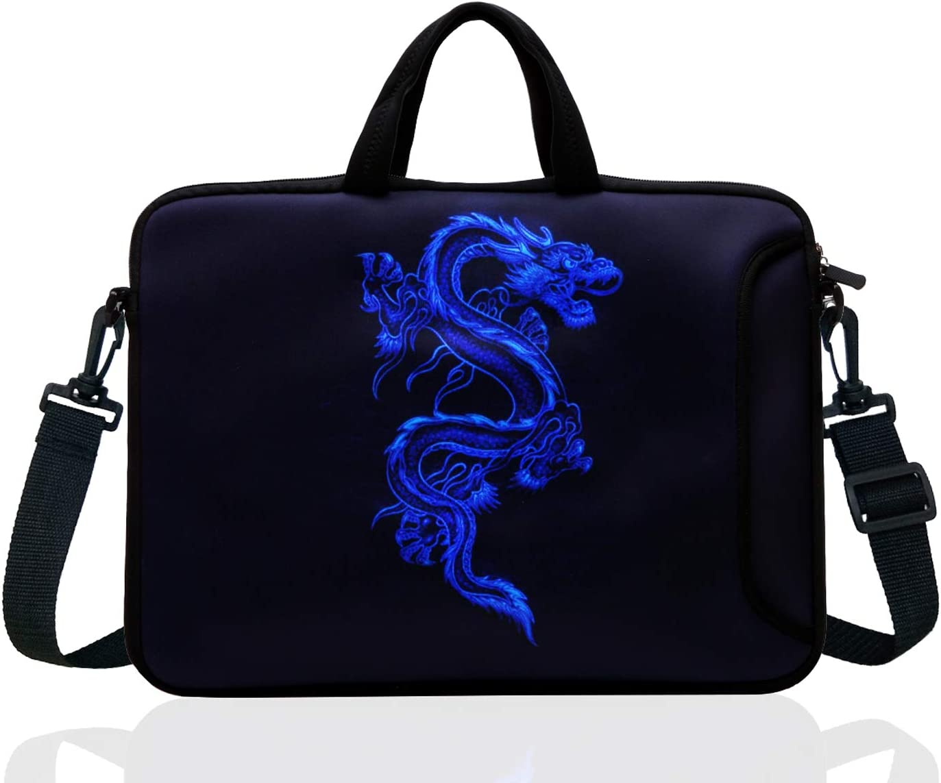 "TAIDY 17 to 17.3-Inch Neoprene Laptop Shoulder Bag Sleeve Case for 17""- 17.3"" MacBook/Ultrabook/HP/Acer/Asus/Lenovo (Blue Dragon)"