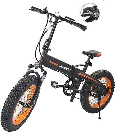 PXQ Bicicleta de montaña eléctrica con 48V 250W batería de Alta Potencia 20 Pulgadas 7 velocidades Plegable montaña E-Bike cercanías Bicicleta, Frenos de Disco Doble y Horquilla de suspensión,Black: Amazon.es: Hogar