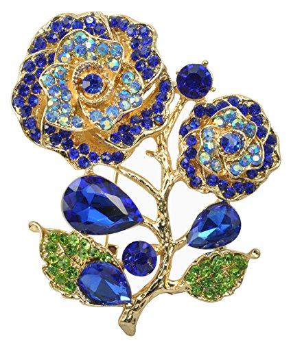 Gyn&Joy Fashionable Stem Rose Flower Breastpin Crystal Rhinestone Brooch Pin Golden Tone BZ089 Blue Sapphire Gold Brooch