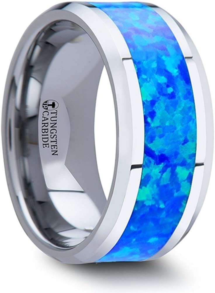 Thorsten Quasar Tungsten Contemporary Metal Wedding Band Ring with Blue Green Opal Inlay 10mm Wide from Roy Rose Jewelry