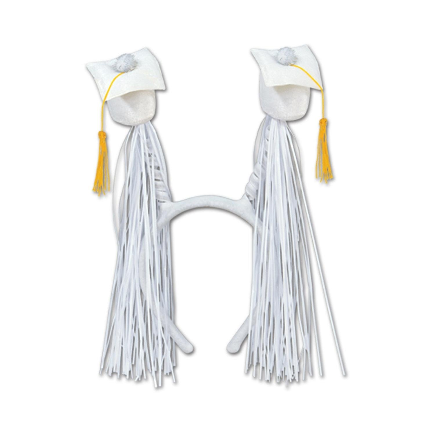 Club Pack of 12 White Graduation Cap with Fringe Bopper Headband Party Favors by Party Central