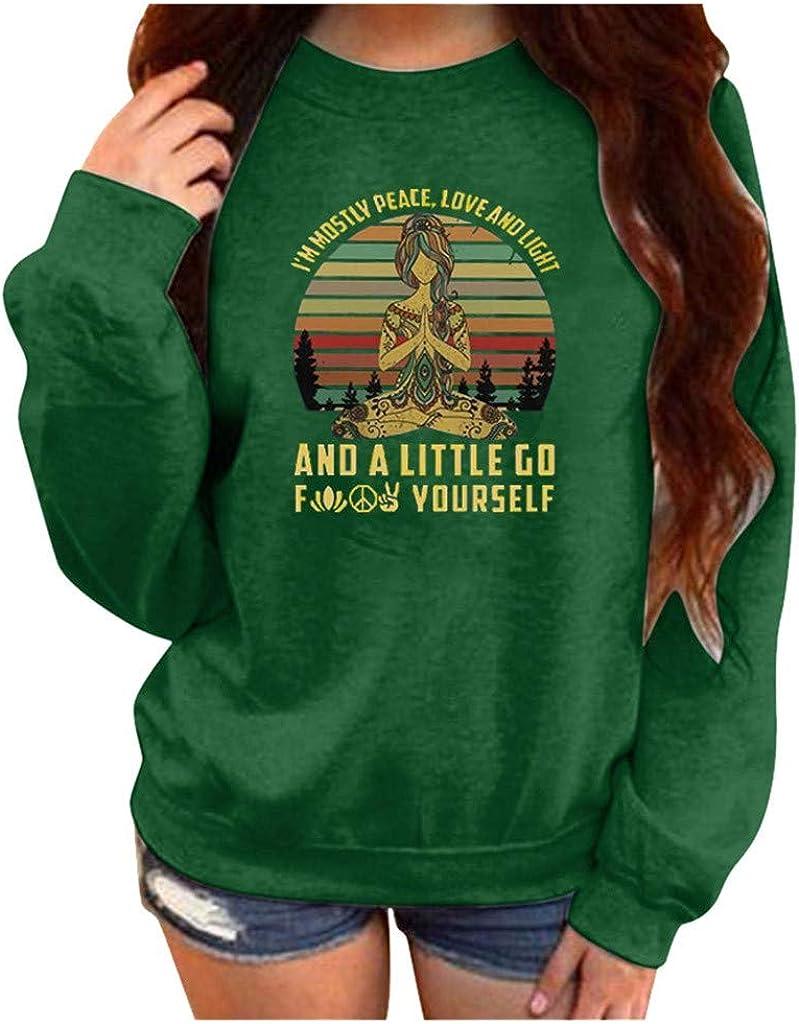 Qikoup Womens Sweatshirts Buddha Round Neck Long Sleeve Tops Pullover Sportswear T Shirts Blouses Autumn Winter