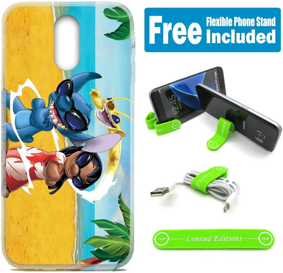 [Ashley Cases] for LG [Stylo 3] [Stylo 3 Plus] [LS777] Cover Case Skin with Flexible Phone Stand - Stitch Lilo Sunglasses