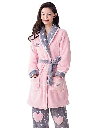 Doneipa Women s Winter Cozy Fleece Flannel Pajama Set Robe Bathrobe Pink  Small 467ab40d4
