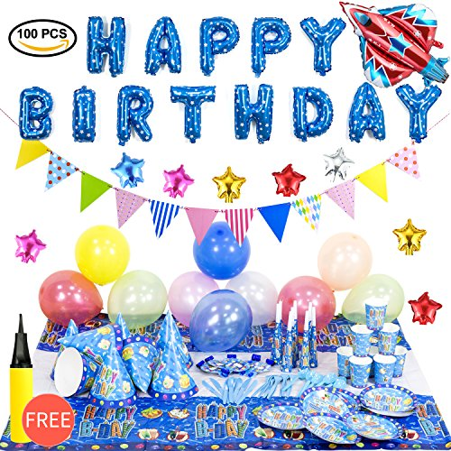 miabing Birthday Party Supplies and Party Decorations All-in-One Pack with Blue Foil Balloons and baby shower decorations(1 balloon pump)(Over 100 -