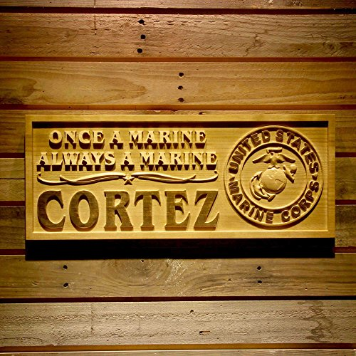 Marines Personalized Gifts - ADVPRO wpa0345 Name Personalized United States Marine Corps Gifts Wood Engraved Wooden Sign - Standard 23