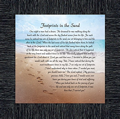 Elegantly Yours Footprints in The Sand, Footprints in The Sand Wall Art, Footprints Poem, 10x10 - Plaque Footprints