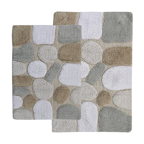 Chesapeake 2-Piece Pebbles 21-Inch by 34-Inch and 24-Inch by 40-Inch Bath Rug Set, Spa by Chesapeake Merchandising