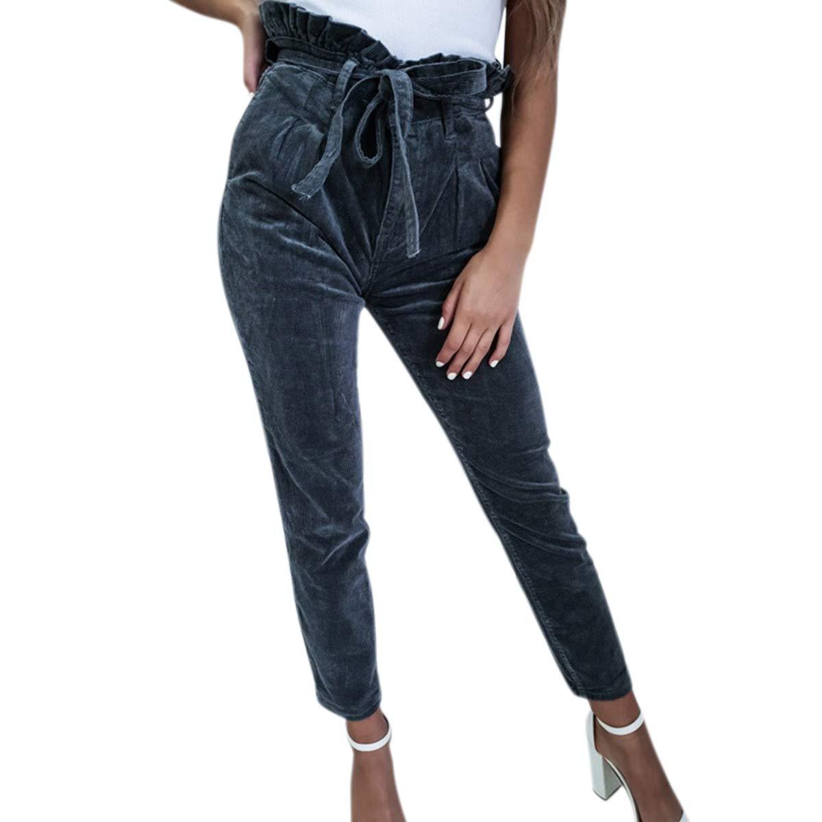 Pantalón Lápiz Corbata Sólido para Mujer Cintura Alta Pantalón ...