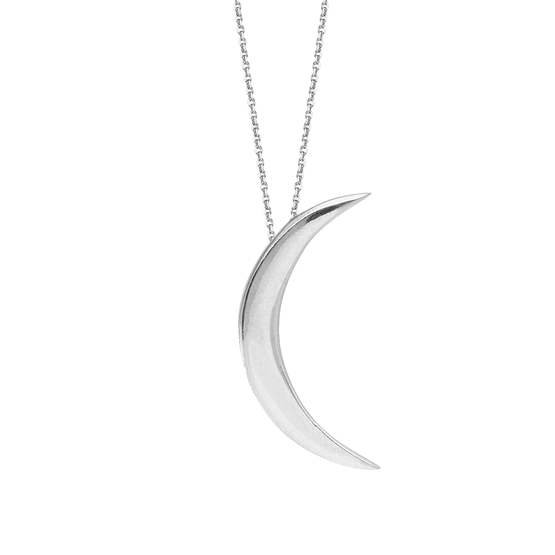 Ritastephens Sterling Silver Polished Half Crescent Moon Charm Pendant Adjustable Necklace 16-18