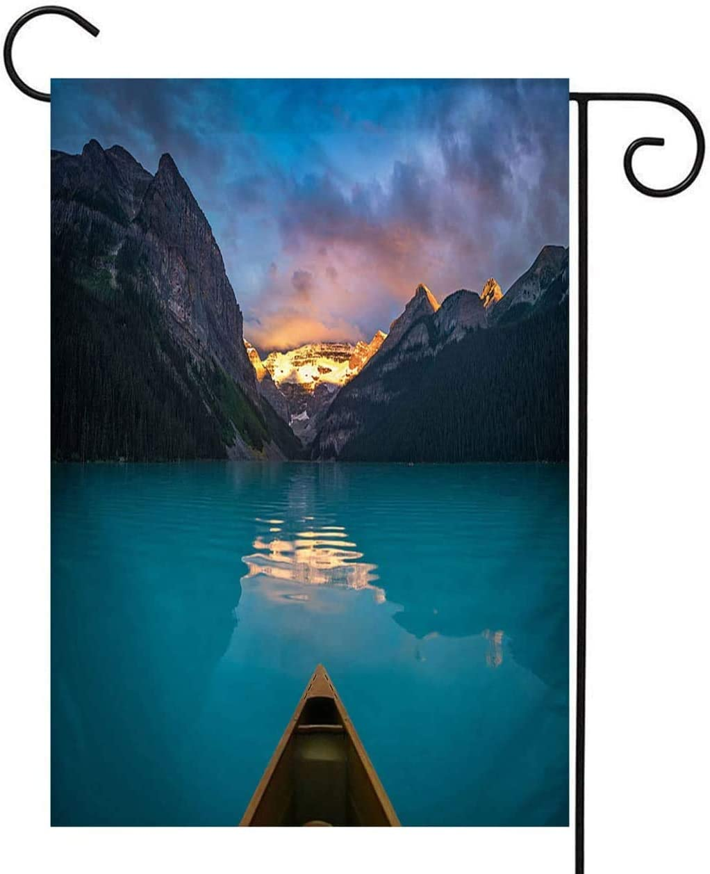 XieJiangHai Mountain Garden Flag,Welcome Double Sided Polyester Garden Flag,Viewing Snowy Mountain in Rising Sun from A Canoe,House Yard Outdoor Farmhouse Holiday Flag,28x40 Inch