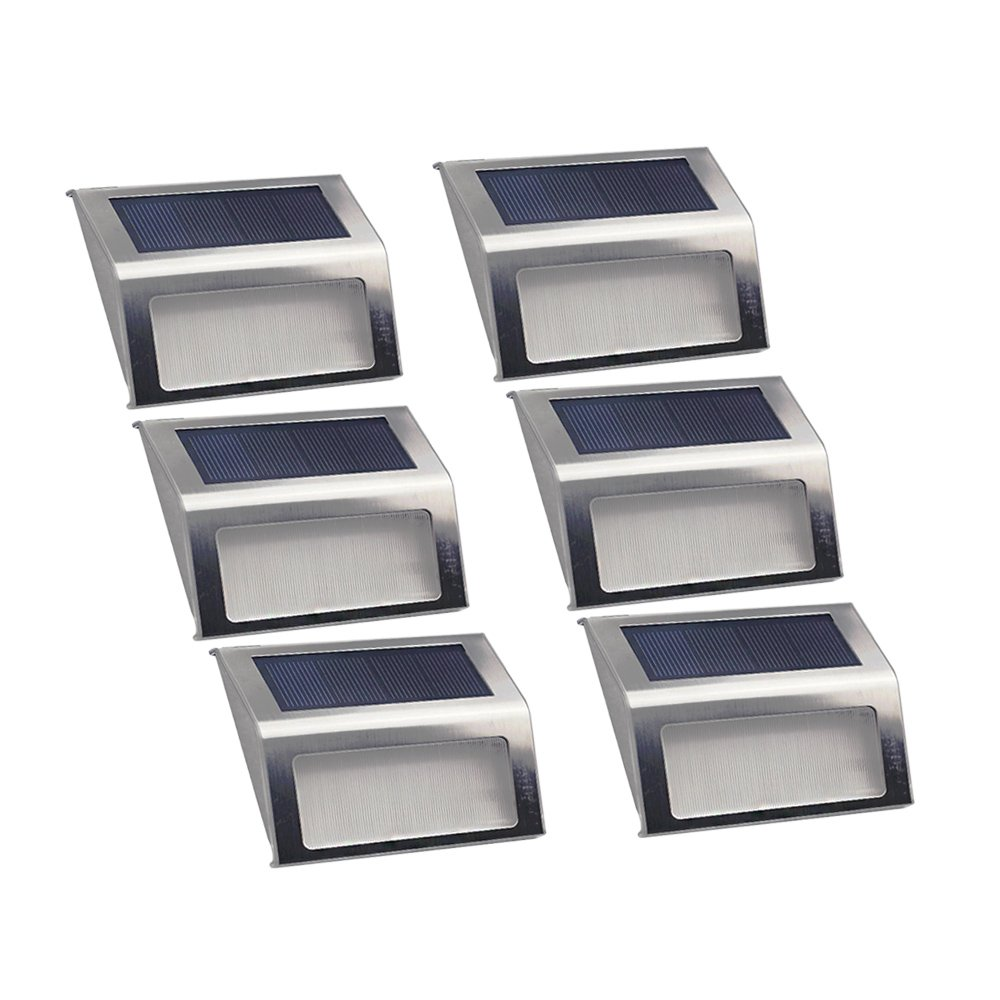 LITWAY Solar Light Stainless Steel Waterproof Outdoor Light for Stairs Decks Path 6Pack