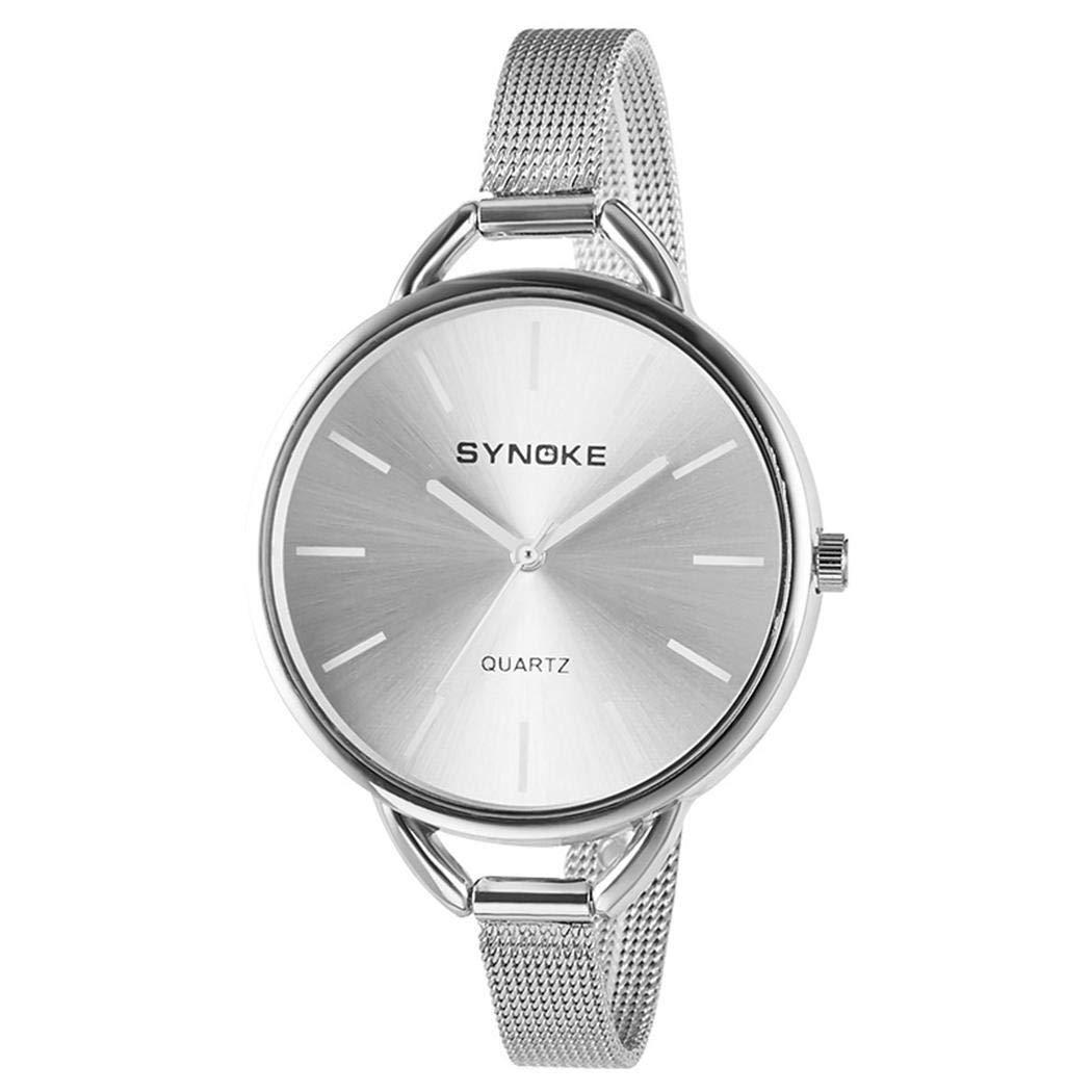 Amazon.com: Women Fashion Steel Mesh Band Round Analog Quartz Wrist Watch Bracelet Bangle: Clothing