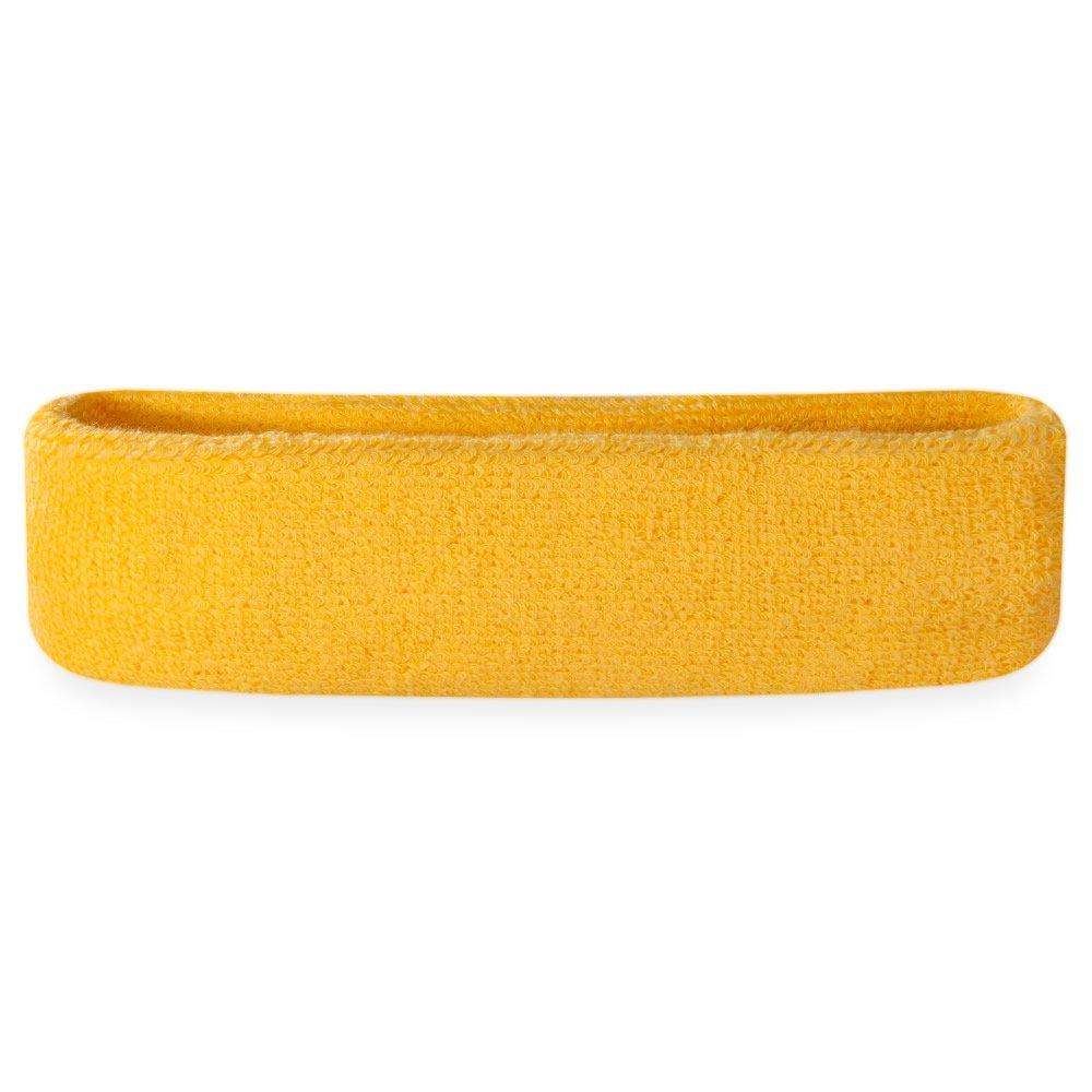 Suddora Sweatband/Headband - Terry Cloth Athletic Basketball Head Sweat Bands (Yellow) by Suddora