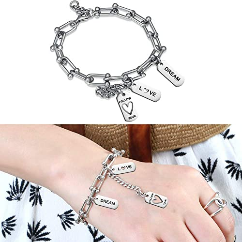 125 Pcs Inspirational Word Chrams Beads FineGood Stainless Steel Necklace Charms DIY Bracelet Pendant Tags for Jewelry Making
