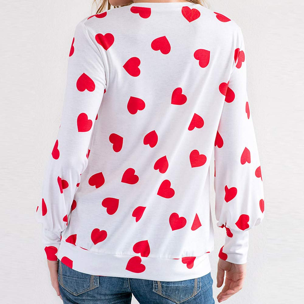 Yajiemen Women Casual Heart Printed Long Sleeve Pullover Blouse Shirts Sweatshirt