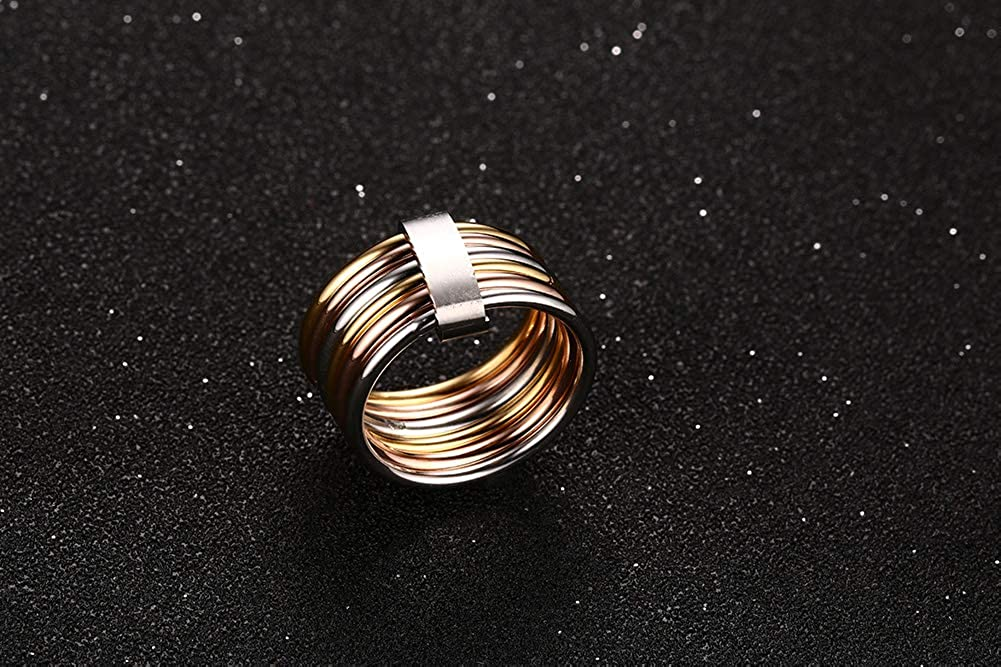 MPRAINBOW 18K Stainless Steel Personality 6 Rings in One Punk Ring Women Girl
