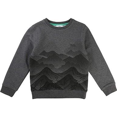 27e12772936 Hugo Boss Boys Charcoal Grey Logo Crew Neck Sweatshirt 16Y: Amazon.co.uk:  Clothing
