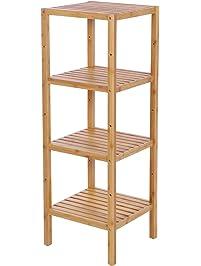 BEWISHOME Bamboo Bathroom Shelf DIY Multifunctional Storage Rack Free  Standing Rack Shelving Unit Adjustable For Bathroom