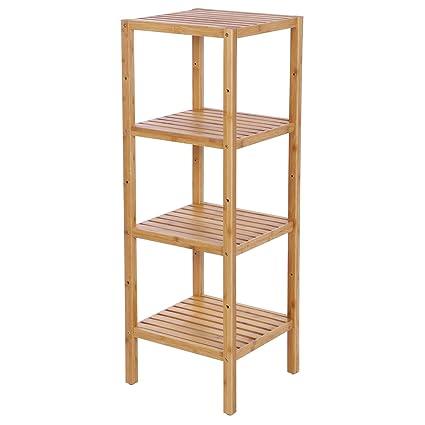 Amazon.com: BEWISHOME Bamboo Bathroom Shelf 4 Tier DIY ...