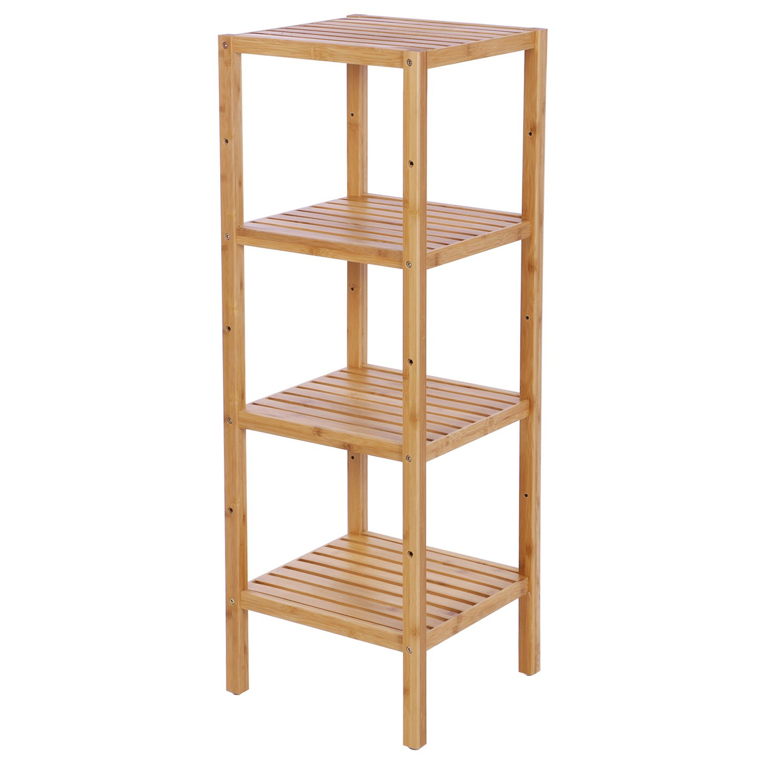 BEWISHOME Bamboo Bathroom Shelf 4 Tier DIY Multifunctional Utility Storage Rack Plant Flower Stand Narrow Shelving Unit Free standing shelf units for Bathroom Bedroom Balcony Kitchen KZW04Y