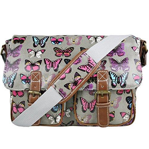 pour femme Toile Sac Cross Vintage à Messenger Butterfly Chouette Sacoche épaule Retro Miss école Feuilles Papillon main Lulu en toile Grey cirée ou 4q7UvwgxP